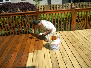 how to refinish a stained wood deck